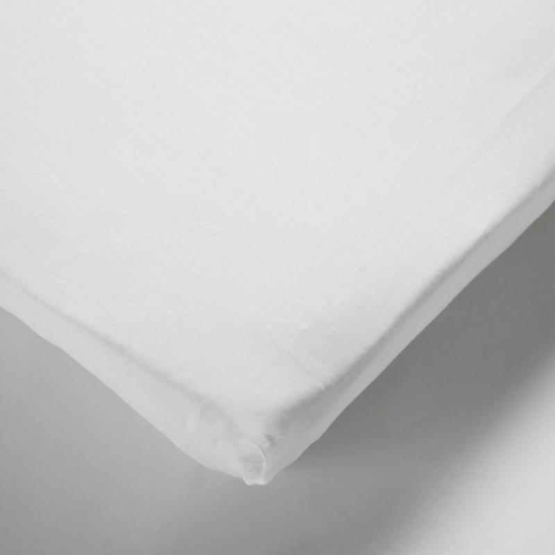 Drap housse matelas bébé 100% coton blanc 60x140